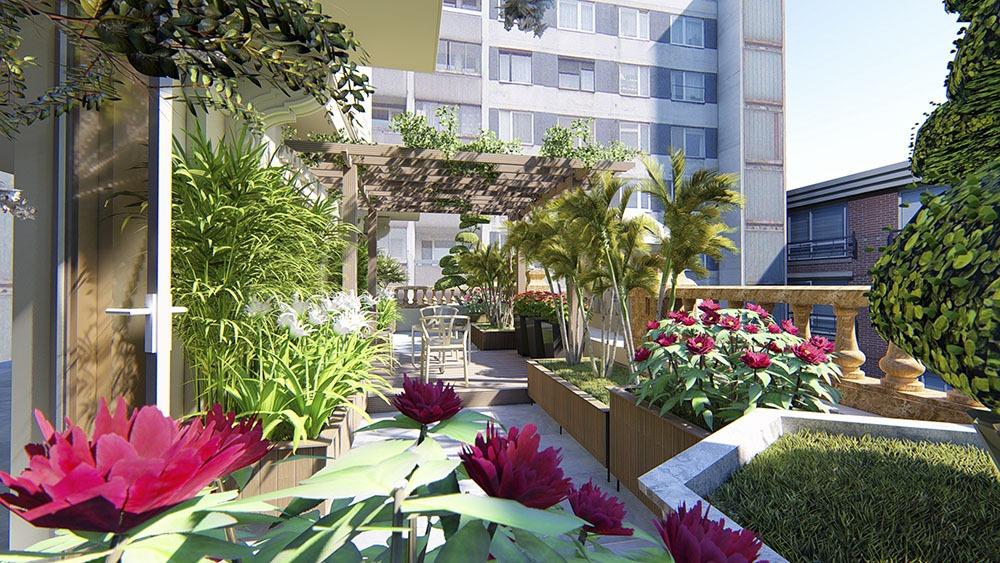 Thiết kế vườn trên mái chị Hương Mỹ Đình Hà Nội