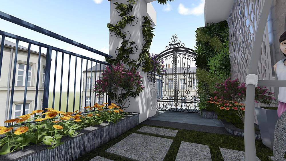 Thiết kế vườn trên mái chị Hà Mỹ Đình