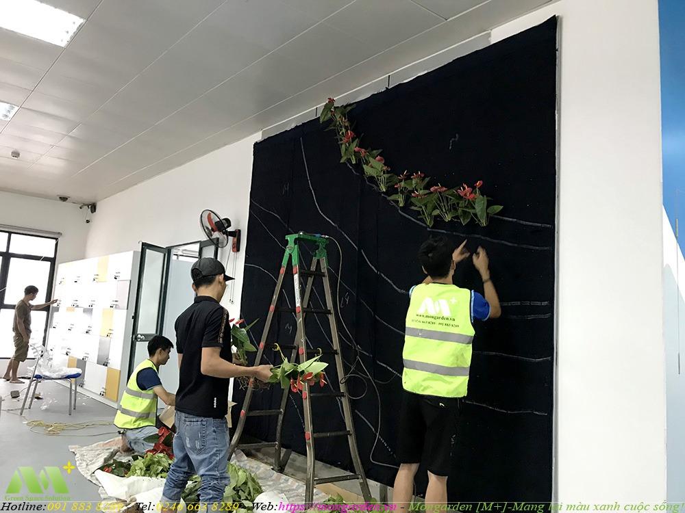 Thi công phần cây xanh cho tường cây xanh tầng 2