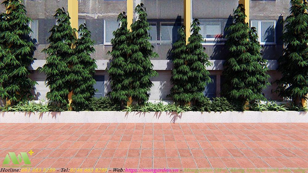 Phương án thiết kế cảnh quan trường THCS Quỳnh Mai, Hà Nội