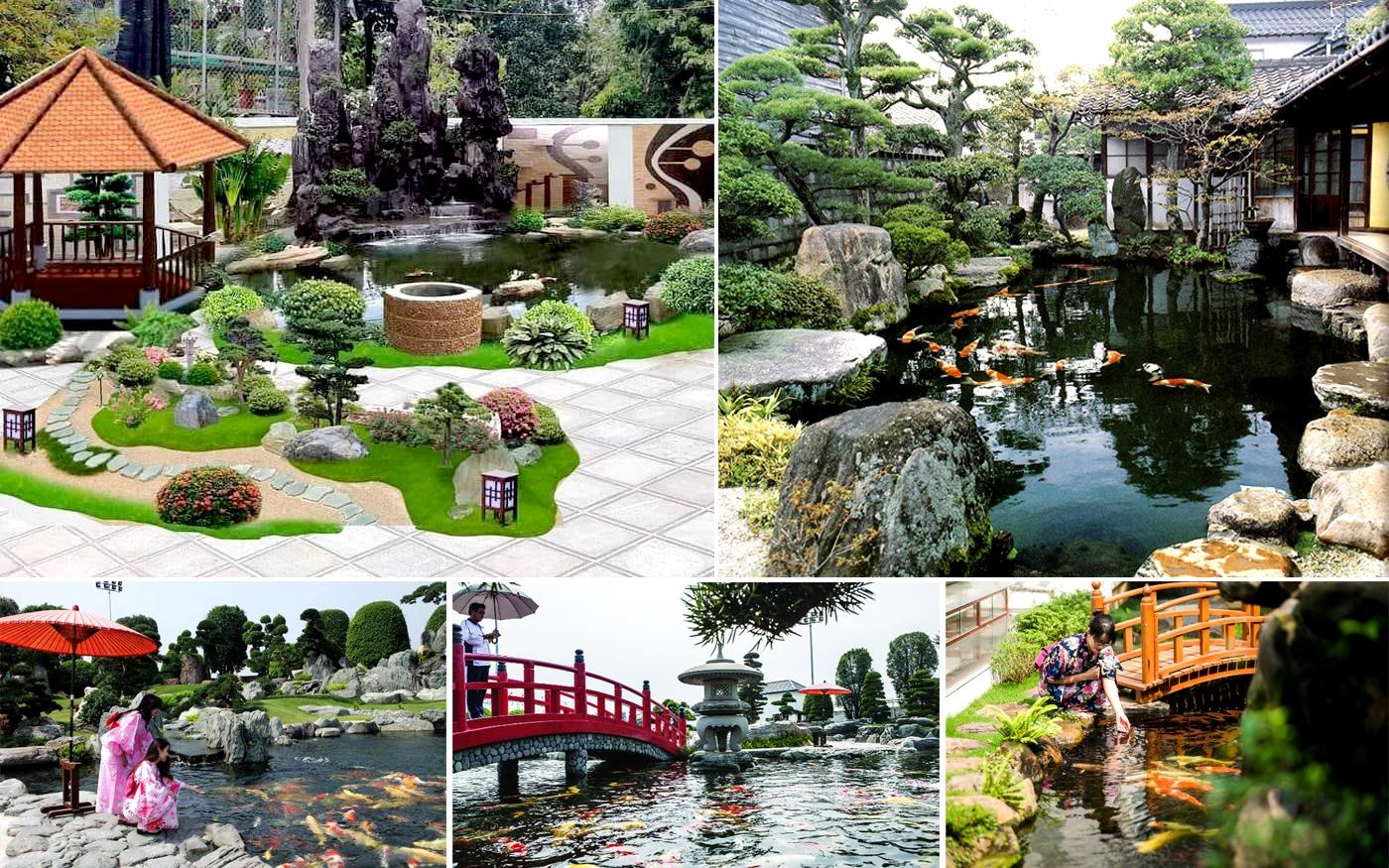 Hồ cá Koi trong phong cách sân vườn Nhật Bản