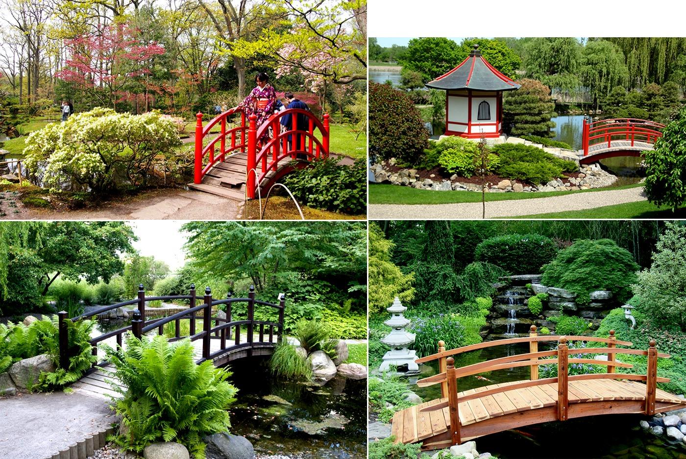 Cầu gỗ sử dụng trong phong cách sân vườn Nhật Bản