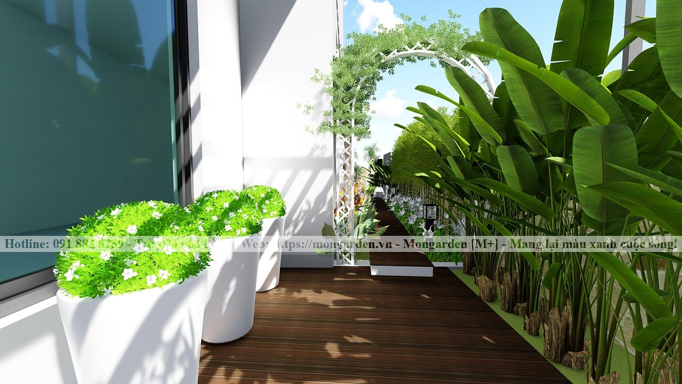 Mẫu thiết kế sân vườn cho biệt thự song lập