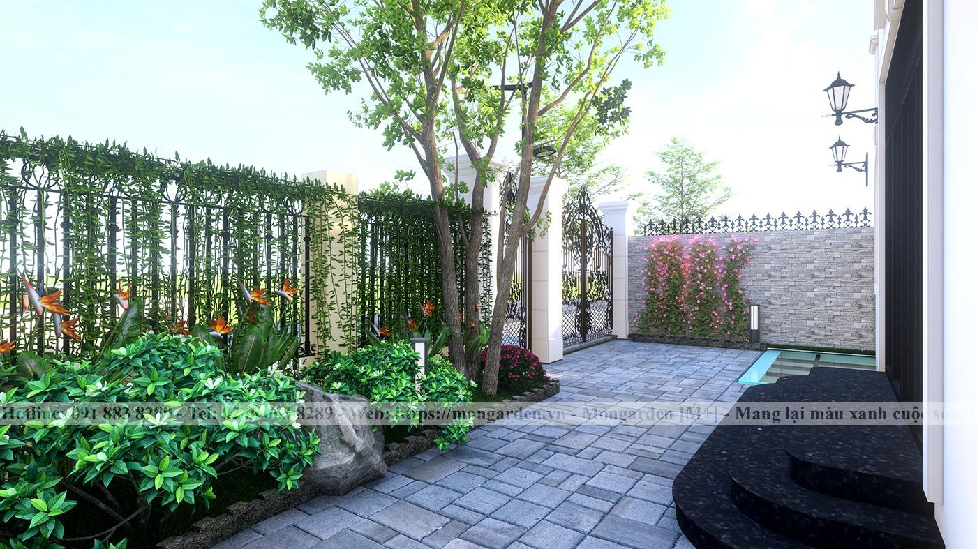 Phương án thiết kế sân vườn nhà anh Long - Vinhomes Thăng Long