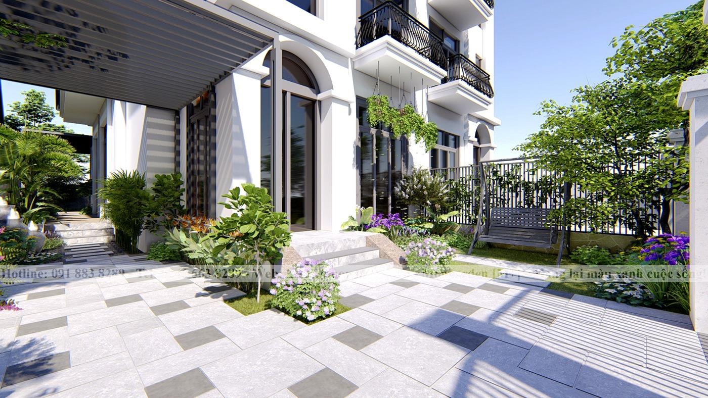 Thiết kế sân vườn anh Thắng Vinhomes Thăng Long