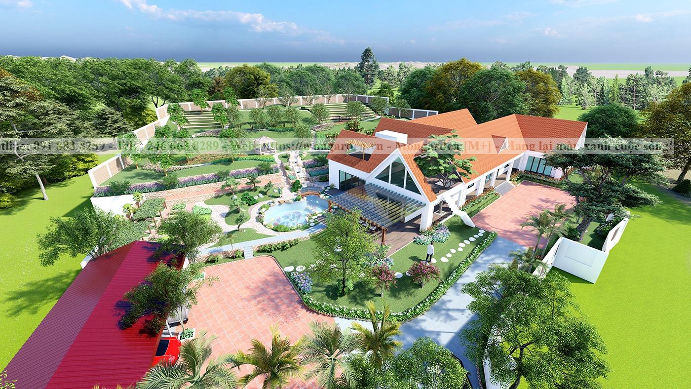 Thiết kế sân vườn chị Giang - Chí Linh, Hải Dương