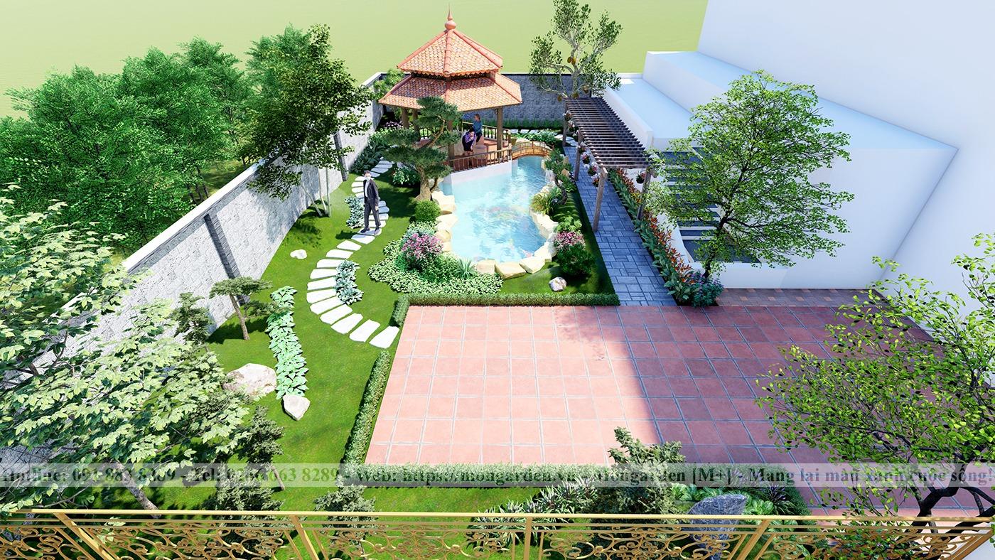 Thiết kế sân vườn anh Hoàn, Nghệ An