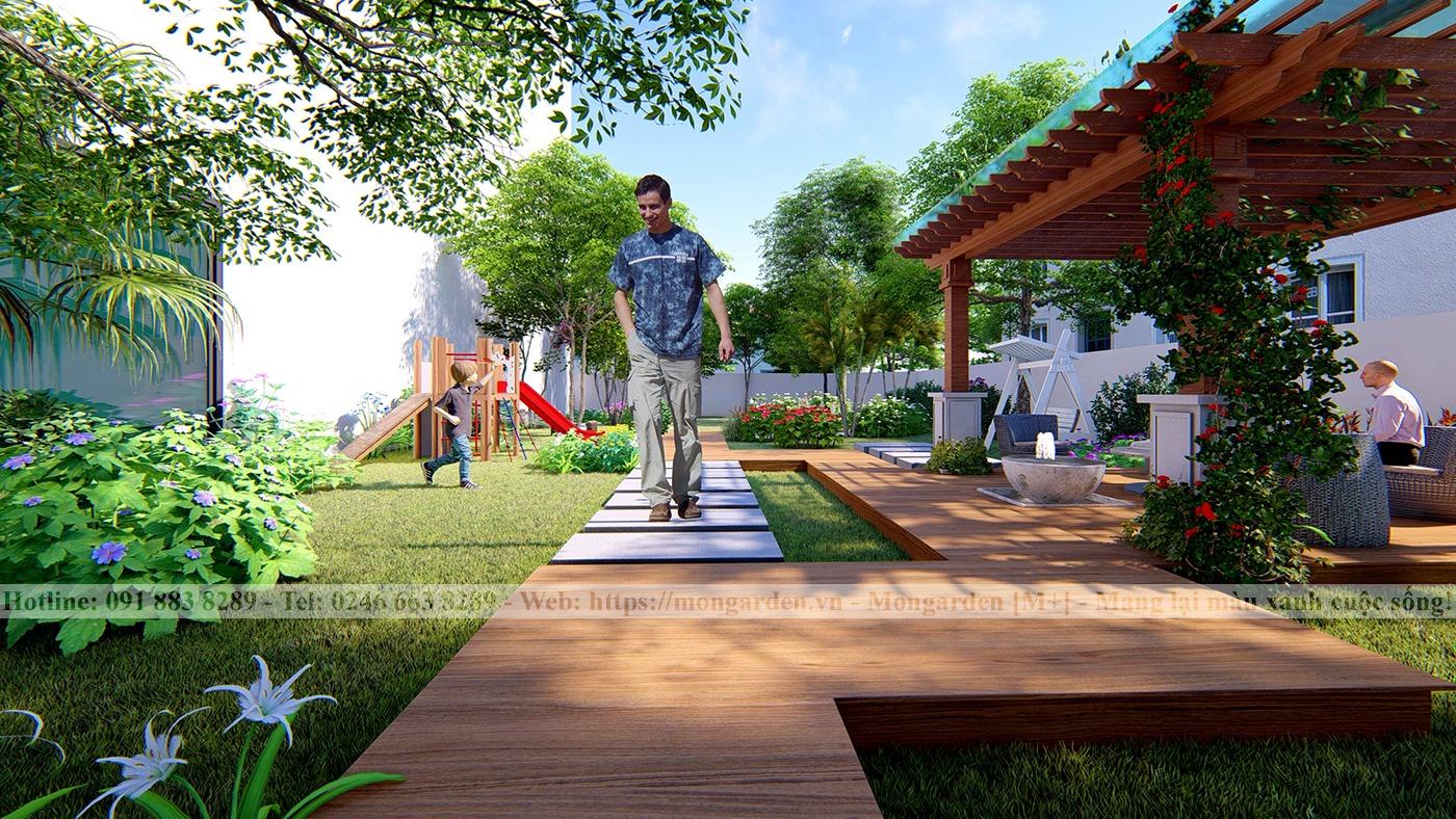 Thiết kế sân vườn anh Dũng - TP Vĩnh Yên, Vĩnh Phúc